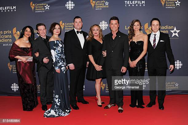 Lachlan Murdoch Arwen Humphreys Kristian Brunn Yannick Bisson and Jonny Harris arrive at the 2016 Canadian Screen Awards at the Sony Centre for the...