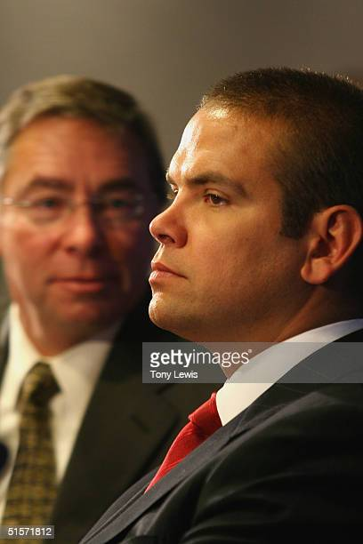 Lachlan Murdoch chairman of News Limited and son of Rupert Murdoch with News Corporation board member David Devoe at News Corporation's Annual...
