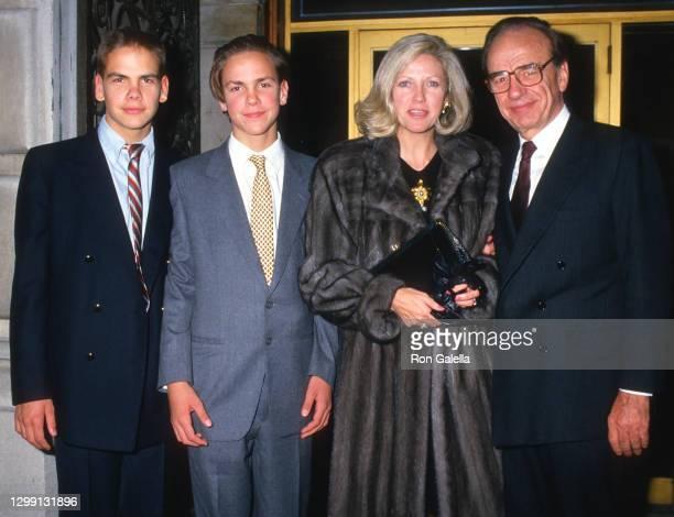 Lachlan Murdoch, James Murdoch, Anna Murdoch and Rupert Murdoch attend 32nd Annual Art and Antique Show at Sotheby's in New York City on December 3,...