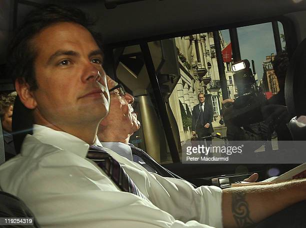 Lachlan Murdoch sits next to his father Rupert Murdoch as they leave home on July 15 2011 in London England News International Chief Executive...