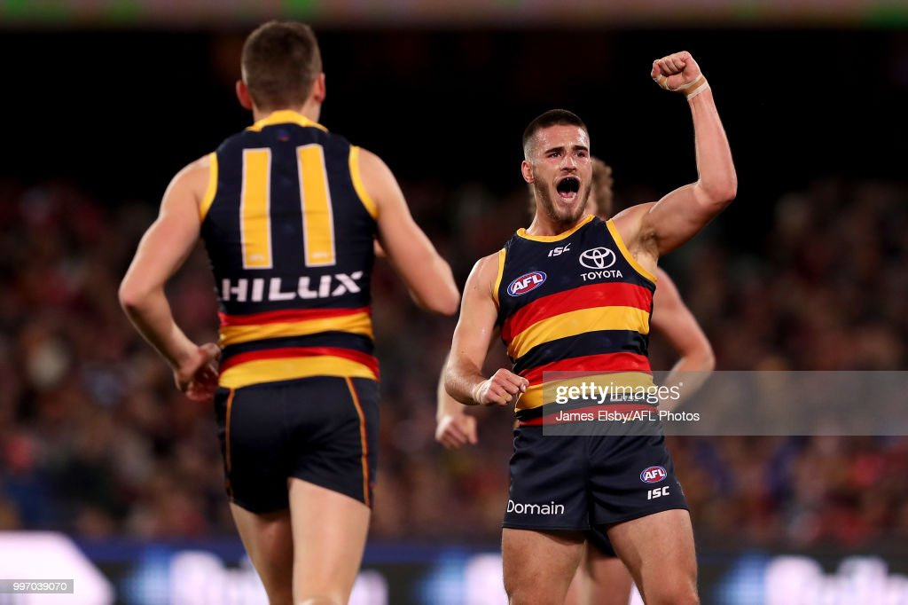 Lachlan Murphy of the Crows celebrates a goal during the 2018 AFL round 17 match between the Adelaide Crows and the Geelong Cats at Adelaide Oval on July 12, 2018 in Adelaide, Australia.