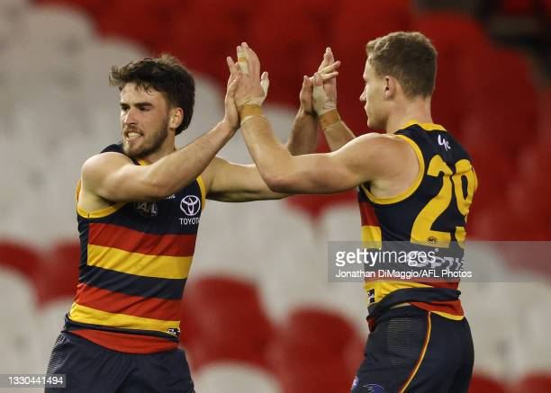 Lachlan Murphy of the Crows celebrates a goal during the round 20 AFL match between Adelaide Crows and Hawthorn Hawks at Marvel Stadium on July 24,...