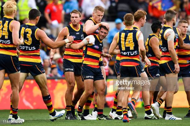 Lachlan Murphy of the Crows celebrates after kicking a goal during the round 5 AFL match between Adelaide and the Gold Coast at Adelaide Oval on...