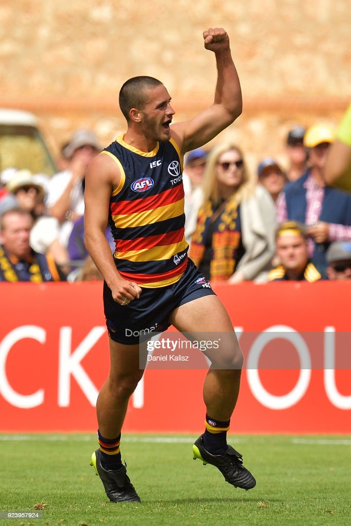 Lachlan Murphy of the Crows celebrates after kicking a goal during the JLT Community Series AFL match between the Adelaide Crows and the Fremantle Dockers at Strathalbyn Oval on February 25, 2018 in Adelaide, Australia.