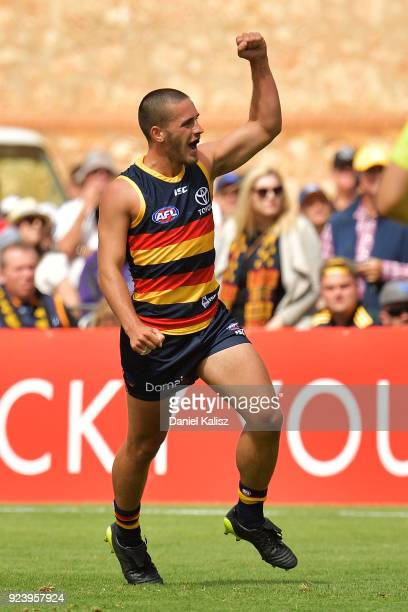 Lachlan Murphy of the Crows celebrates after kicking a goal during the JLT Community Series AFL match between the Adelaide Crows and the Fremantle...