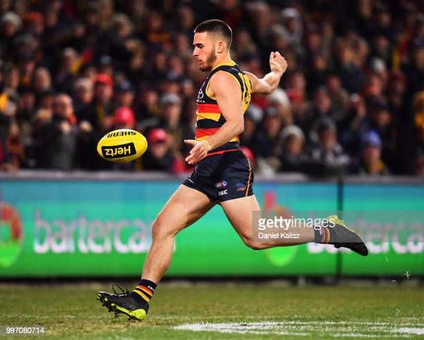 Lachlan Murphy of the Crows kicks the ball during the round 17 AFL match between the Adelaide Crows and the Geelong Cats at Adelaide Oval on July 12...
