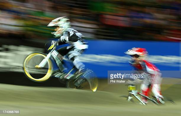 Lachlan Nikolajenko of New Zealand competes in the 8yr old boys during day two of the UCI BMX World Championships at Vector Arena on July 25 2013 in...