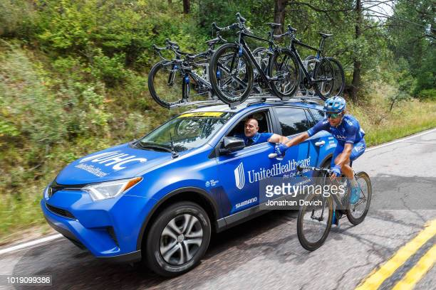 Lachlan Norris of Australia and the UnitedHealthcare Pro Cycling Team gets a feed from team director Sebastian Alexandre during stage 3 of the...