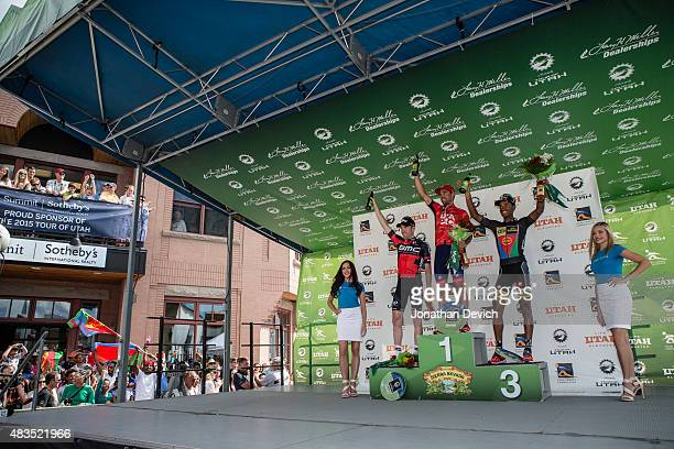 Lachlan Norris of the Drapac Professional Cycling Team in first place on the podium with Brent Bookwalter of the BMC Pro Racing Team in second place...