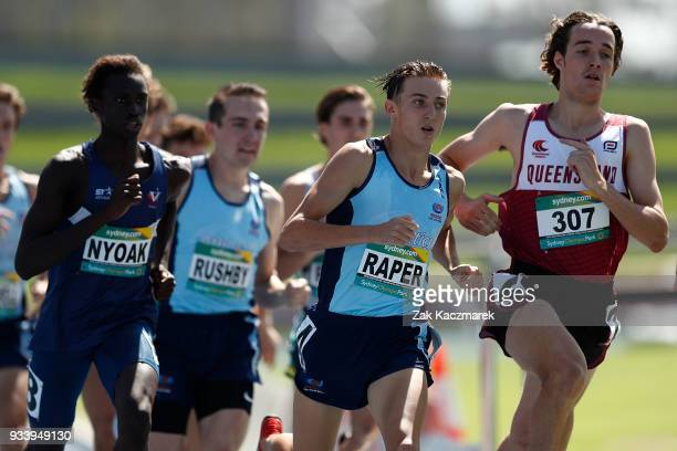 Lachlan Raper of NSW competes in the Men's 800 metre Under 20 Preliminary Final during day four of the Australian Junior Athletics Championships at...