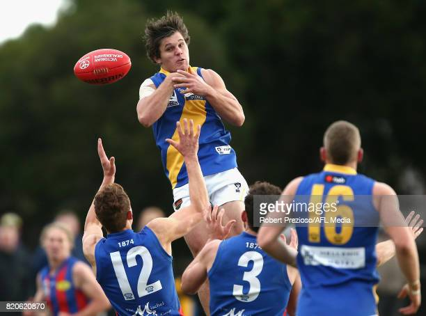 Lachlan Schultz of Williamstown attempts a mark during the round 14 VFL match between Port Melbourne and Williamstown at North Port Oval on July 22...
