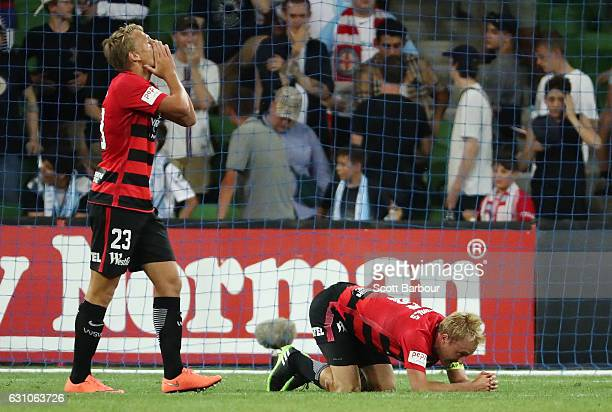 Lachlan Scott and Mitch Nichols of the Wanderers react after a missed shot on goal during the round 14 ALeague match between Melbourne City FC and...