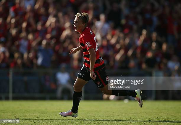 Lachlan Scott of the Wanderers celebrates scoring a goal during the round 16 ALeague match between the Western Sydney Wanderers and the Newcastle...