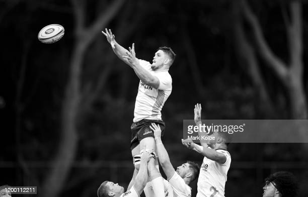 Lachlan Swintonof the Waratahs wins the lineout during the pre-season Super Rugby match between the Waratahs and the Highlanders at Leichhardt Oval...