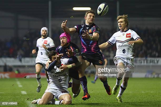 Lachlan Turner of Exeter narrowly fails to gather the ball as a try scoring opportunity is lost during the European Rugby Challenge Cup Pool 5 match...