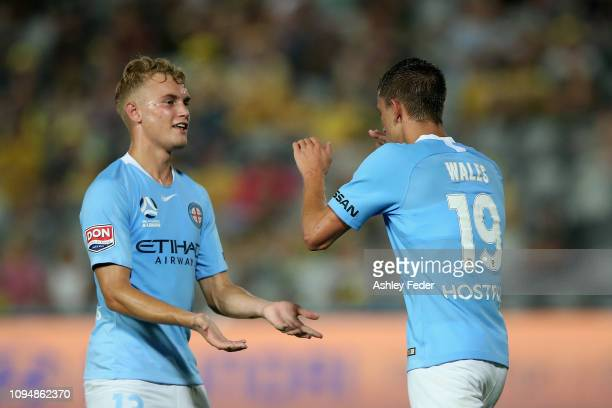 Lachlan Wales of Melbourne City celebrates his goal with Nathaniel Atkinson of Melbourne City during the round 12 ALeague match between the Central...