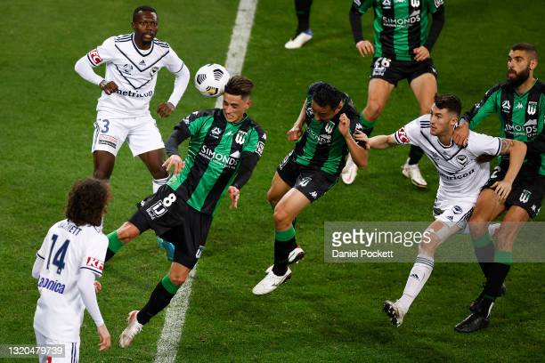 Lachlan Wales of Western United attempts to head a goal during the A-League match between Western United and Melbourne Victory at AAMI Park, on May...