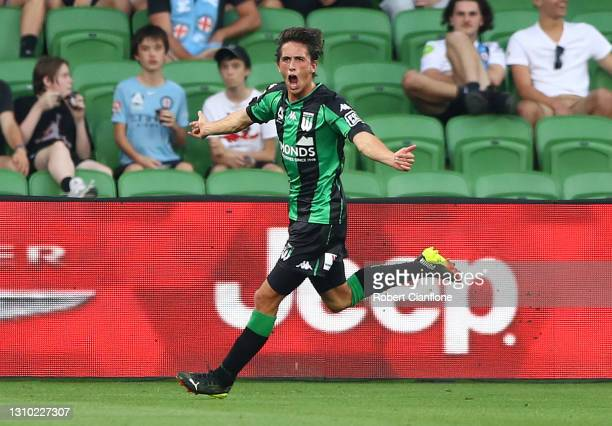 Lachlan Wales of Western United celebrates after scoring a goal during the A-League match between Western United FC and Melbourne City at AAMI Park,...