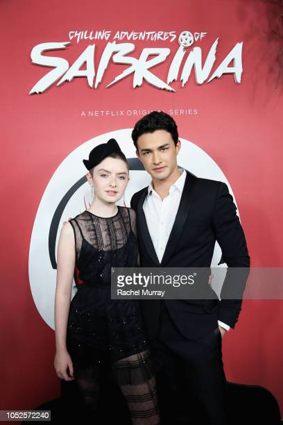 Lachlan Watson and Gavin Leatherwood attend Netflix Original Series Chilling Adventures of Sabrina red carpet and premiere event on October 19 2018...