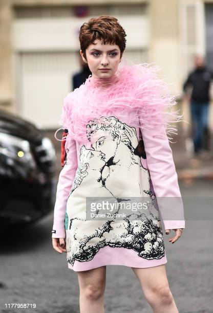 Lachlan Watson is seen wearing a Valentino dress outside the Thom Browne show during Paris Fashion Week SS20 on September 29 2019 in Paris France
