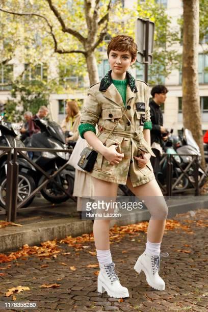 Lachlan Watson wearing Miu Miu outside Miu Miu during Paris Fashion Week Womenswear Spring Summer 2020 on October 01 2019 in Paris France