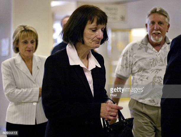 Laci Peterson's Aunt Susan Aquino enters the San Mateo County courthouse to testify at the Scott Peterson trial on June 9 2004 in Redwood City...