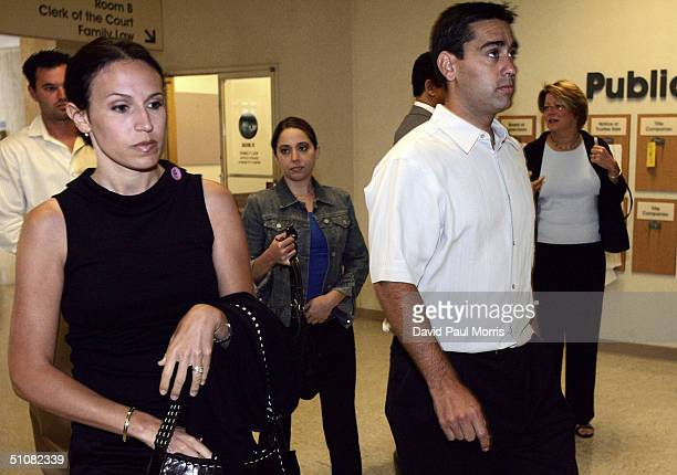 Laci Peterson's sisterinlaw Rose Marie Rocha Amy Rocha and Brent Rocha the sister and brother of Laci Peterson arrive at the San Mateo County Court...