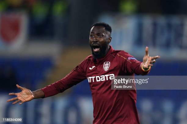Lacina Traore' of CFR Cluj reacts during the UEFA Europa League group E match between SS Lazio and CFR Cluj at Stadio Olimpico on November 28, 2019...