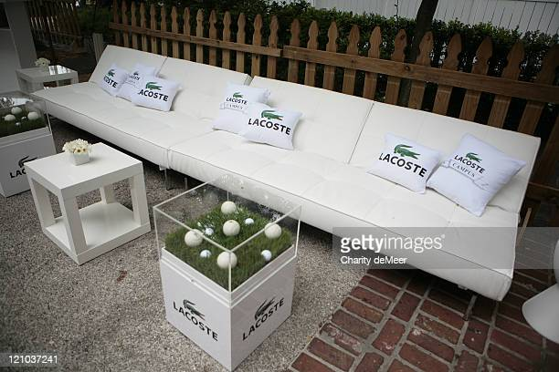 Lacoste sofa set up for the party during Lacoste on Campus - University of Florida at University of Florida in Gainesville, Florida, United States.