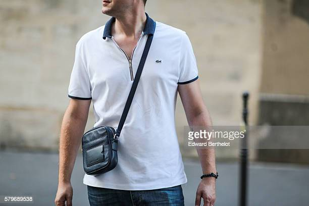 Lacoste white shirt and a Lacoste bag are seen on July 24 2016 in Paris France