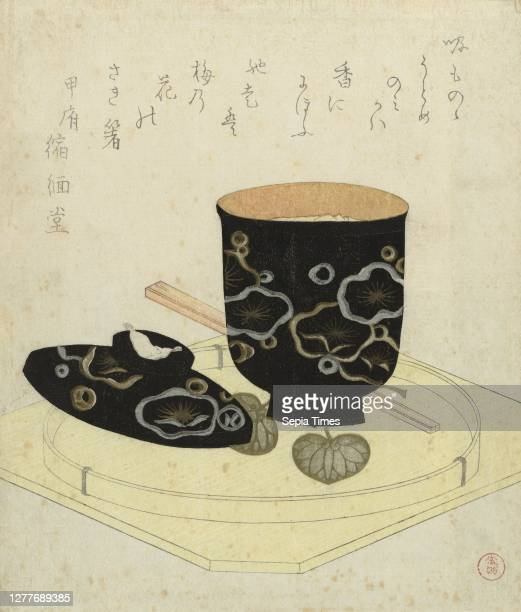 Lacquered bowl, A black lacquered bowl filled with custard soup , on a tray with chopsticks. With one poem, bowl, Kubota Shunman , Japan, c. 1810 -...