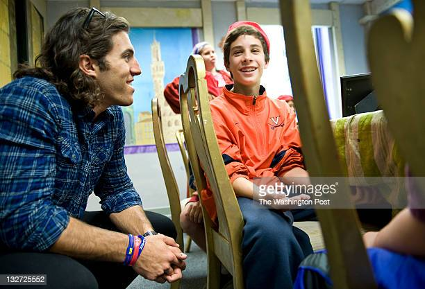 Lacross star Paul Rabil talks with Jay Budin while touring The Lab School to see its handson active teaching methods in Washington DC on November 9...