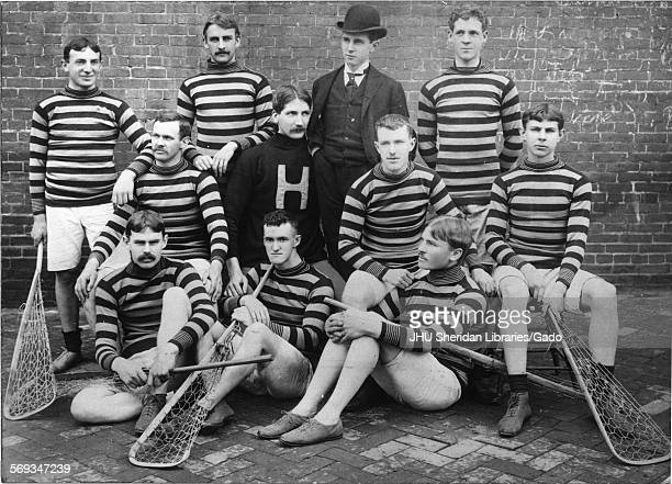 Lacrosse Group photograph of team with sticks Johns Hopkins University Baltimore Maryland 1900