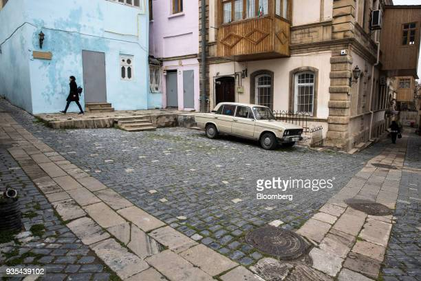 A Lada vehicle manufactured by AvtoVAZ OAO sits parked in the Old City of Baku Azerbaijan on Friday March 16 2018 Azerbaijan's economy barely...