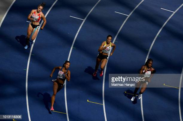 Lada Vondrova of the Czech Republic Floria Guei of France Nadine Gonska of Germany and Cynthia Bolingo Mbongo of Belgium compete in the Women's 400...