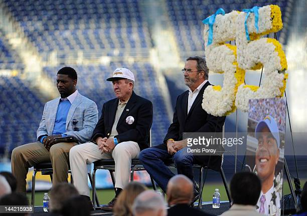 LaDainian Tomlinson Bobby Ross and Dan Fouts look on during a memorial for former San Diego Chargers star football player Junior Seau at Qualcomm...