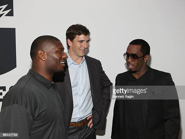 Ladainian Tomlinson of the New York Jets Eli Manning of the New York Giants and Diddy attend the launch of G Series Pro by Gatorade at 40 Renwick...