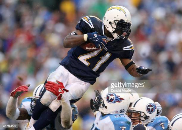 LaDainian Tomlinson of the San Diego Chargers jumps toward the end zone en route to a touchdown in the fourth quarter against the Tennessee Titans...