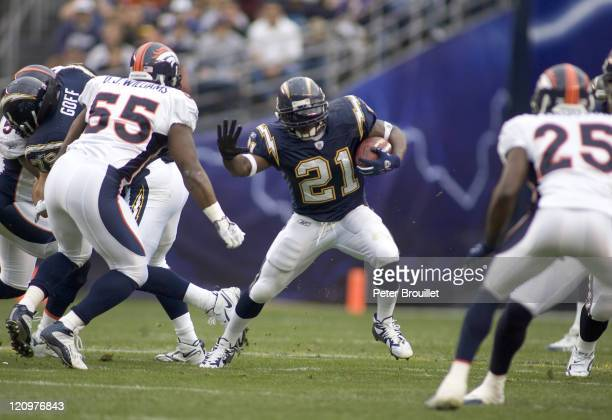 LaDainian Tomlinson running back for the San Diego Chargers rushed for 92 yards on 19 carries in a game against the Denver Broncos at Qualcomm...