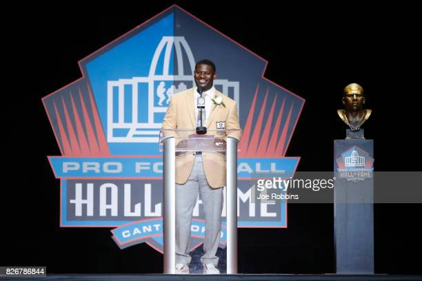 LaDainian Tomlinson speaks during the Pro Football Hall of Fame Enshrinement Ceremony at Tom Benson Hall of Fame Stadium on August 5 2017 in Canton...