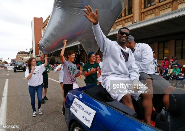 LaDainian Tomlinson waves to fans in downtown Canton The 2017 NFL Hall of Fame class including Dallas Cowboys owner Jerry Jones and former TCU...