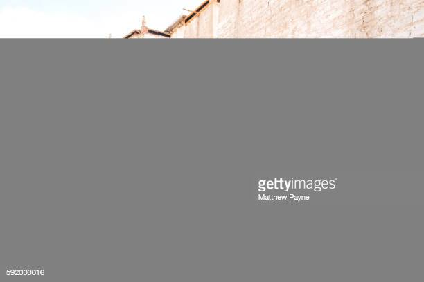 Ladakh, India: Steps and whitewashed walls of ruined Basgo Gompa (monastery) in Indus Valley