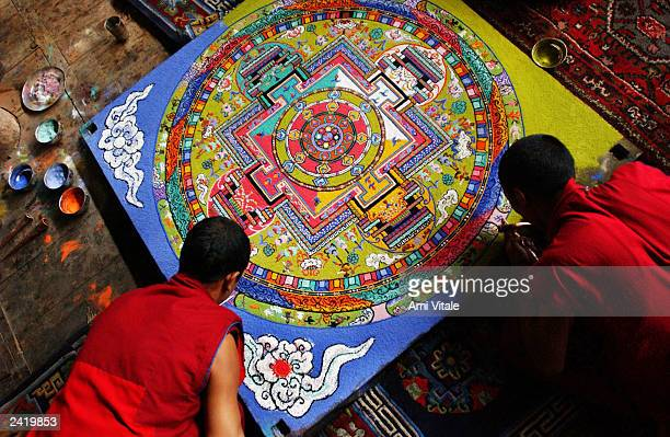 Ladakhi Buddhist monks construct a mandala with sand and the dust of precious stones inside the Thiksay monastery 17 kilometers outside of Leh the...