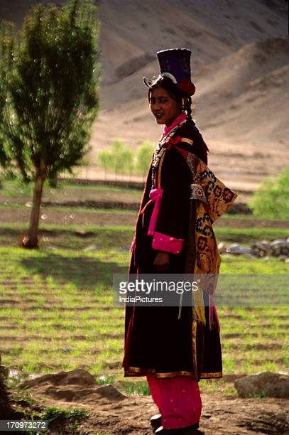 Ladakhi girl in traditional dress Ladakh Jammu and Kashmir India