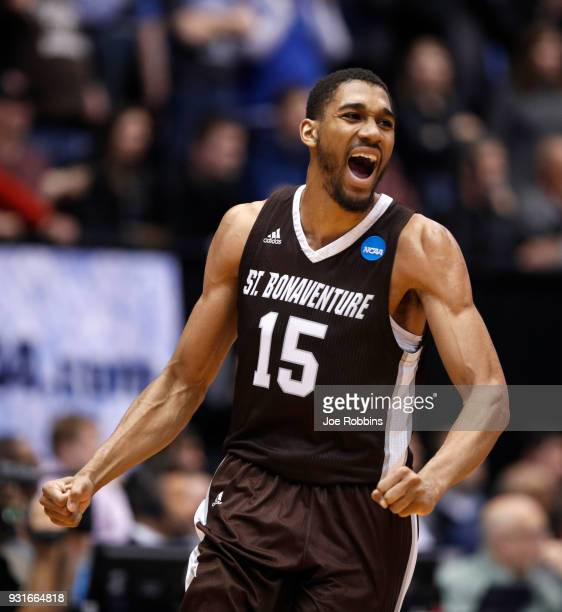 LaDarien Griffin of the St Bonaventure Bonnies celebrates his teams lead late in the game against the UCLA Bruins during the second half of the First...