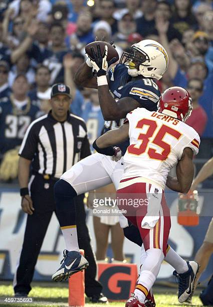 Ladarius Green of the San Diego Chargers scores a touchdown against the Kansas City Chiefs during their game on December 29 2013 at Qualcomm Stadium...