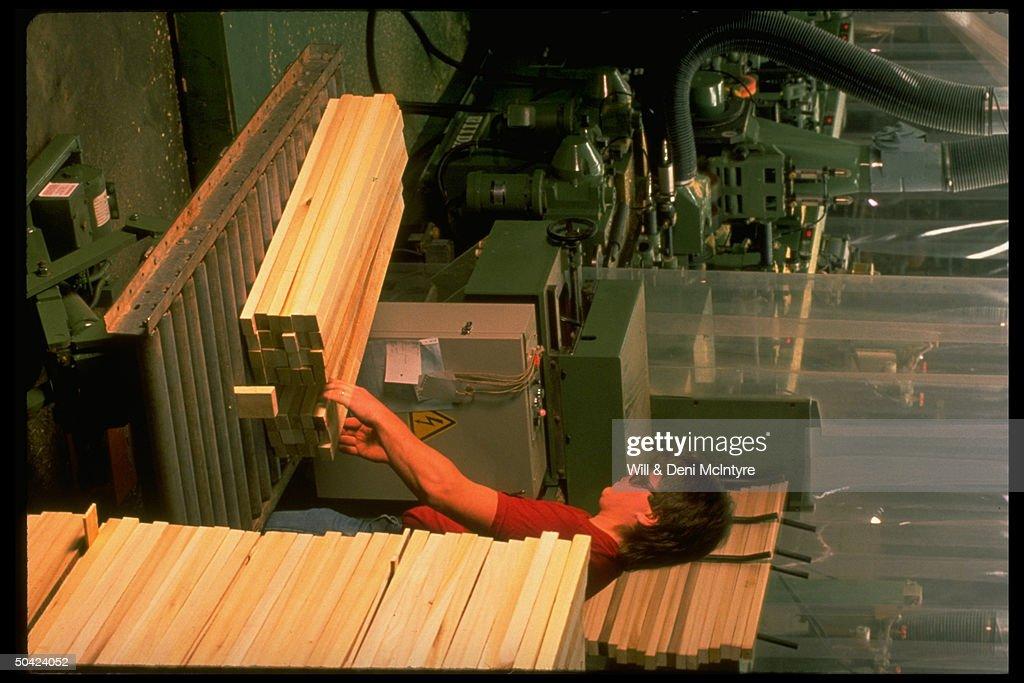 Ladd Furniture Worker Stacking Lumber