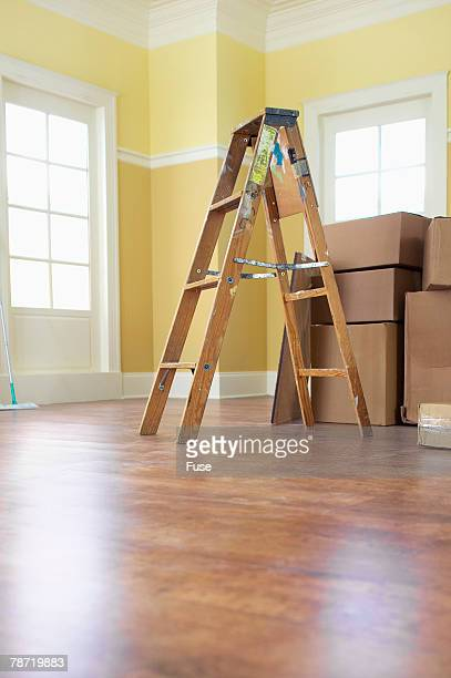 ladder and boxes - endopack stock pictures, royalty-free photos & images