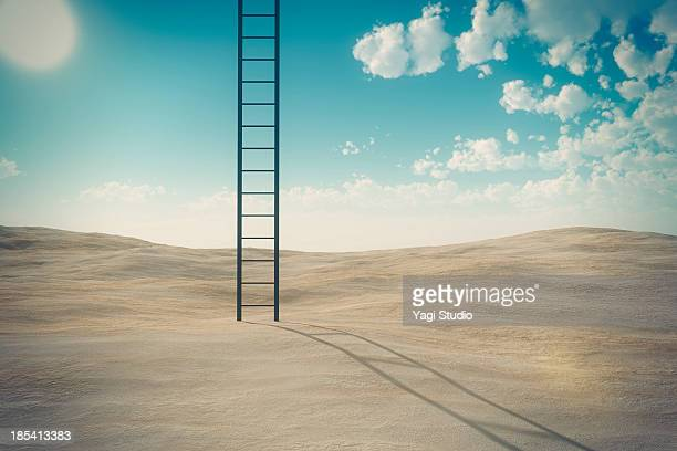ladder and desert - ladder stock pictures, royalty-free photos & images