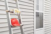 Ladder, Gloves And Hard Hat